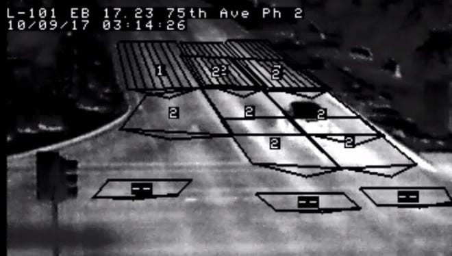 A vehicle travels the wrong way at loop 101 and 75th Avenue early Sept. 10, 2017. Thermal cameras from the Arizona Department of Transportation detected the wrong-way driver, who was arrested on suspicion of DUI.