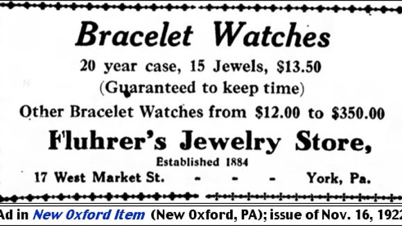 Fluhrer's Jewelry Store ad in New Oxford Item (New Oxford, PA); issue of November 16, 1922