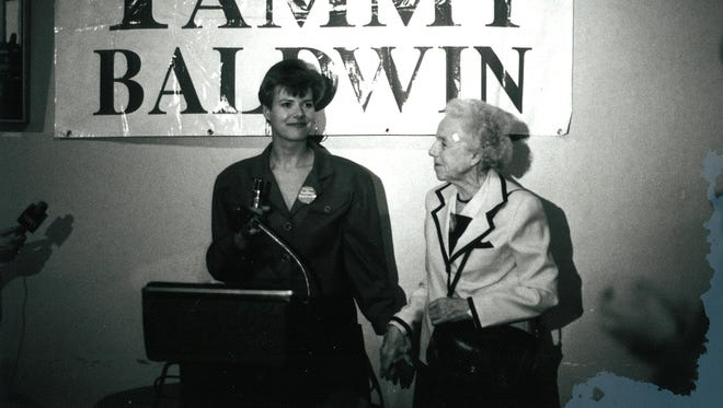 U.S. Sen. Tammy Baldwin with her grandmother at an Assembly victory party in September 1992.