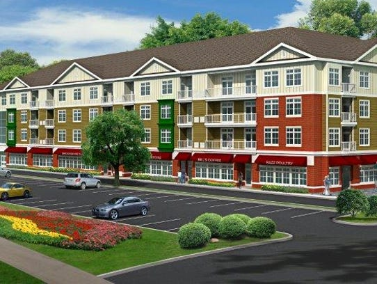 A rendering shows the mixed-use project planned for