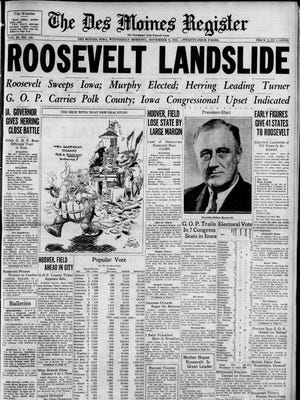 The Nov. 9, 1932 edition of The Des Moines Register.