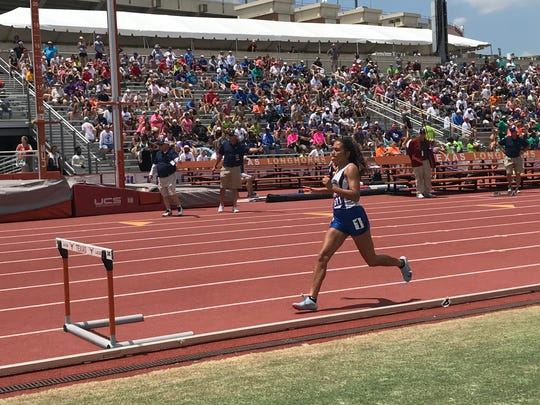 Ingleside's Jordan Blanton competes in the 4A girls 300 hurdles at the UIL State Track & Field Championships in Austin, Saturday, May 12.