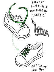Turn lace-up shoes into slip-ons by replacing shoelaces with elastic.