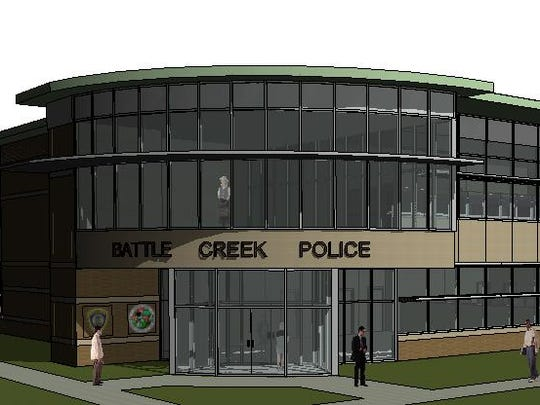 An architect's rendering of the new Battle Creek Police