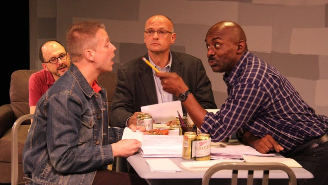 "An early meeting of a group founded to bring awareness to a mysterious new disease. From left: Rick Dines as Ned Weeks, Joshua Best as Tommy Boatwright, Art Duncan as Bruce Niles and Darryl Kent Clark as Mickey Marcus. Springfield Contemporary Theatre's production of the ""The Normal Heart"" opens Friday and runs through Nov. 2."
