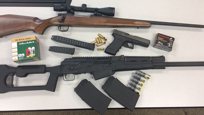 Pictured is some of the evidence seized when a Waynesboro suspect was arrested last week on gun and drug charges, according to police.