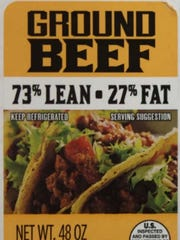 A label from one of the raw ground beef products that