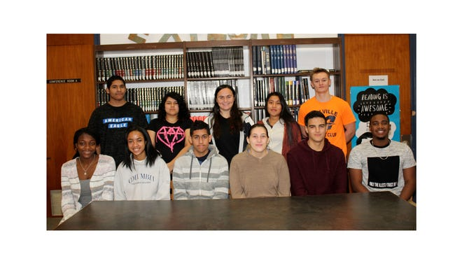 Millville Senior High School's Students of the Month for November are: (Seated, from left) Cianna Edzii, Kyla Kemp, Carlos Rosa-Torres, Isabella Loiacono, John Hibschman and Omar Luis-Llaverias; and (standing, from left) Nahum Suarez, Christy Kelly, Alexia Bartleson, Alma Lopez-Roblero and William Brown.