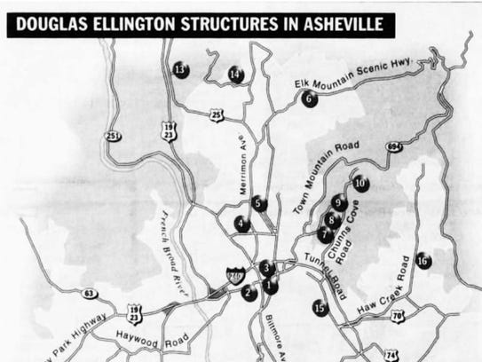 A map of Douglas Ellington buildings in Asheville.