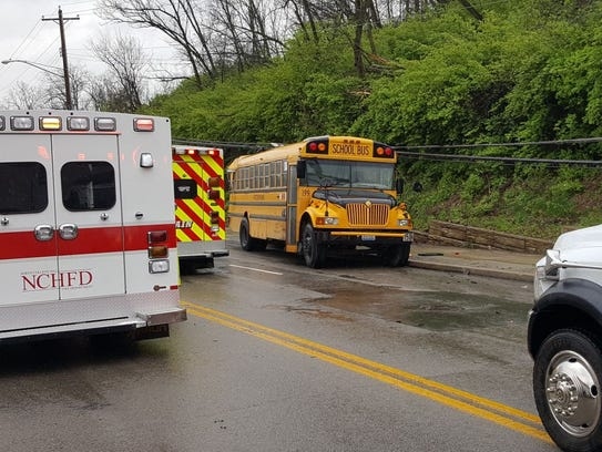 This school bus was involved in a multi-vehicle crash Monday in the 5600 block of Winton Road