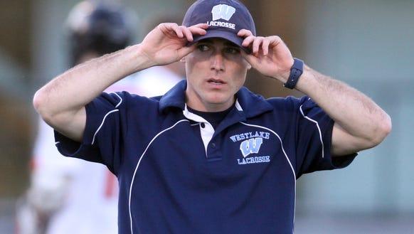 Westlake lacrosse head coach Hunter Burnard during