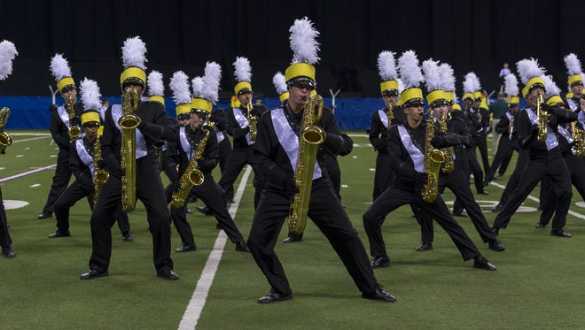 Fishers High School marching band performs during competition at the ISSMA State Open Class A Marching Band Finals, Saturday, November 4, 2017, at Lucas Oil Stadium.
