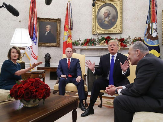 President Donald Trump argues about border security with Senate Minority Leader Chuck Schumer and House Minority Leader Nancy Pelosi as Vice President Mike Pence sits nearby in the Oval Office on Dec. 11, 2018.