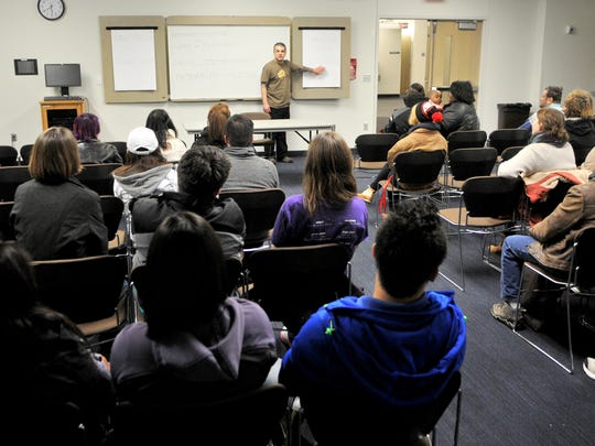 Miguel Chavez leads a discussion at Atwood Memorial Center after a rally for social justice Tuesday at St. Cloud State University.