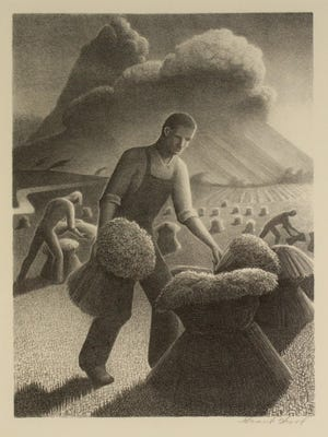 Grant Wood, Approaching Storm, 1940, lithograph. Collection of the Springfield Art Museum.