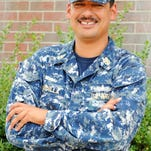 Senior Chief Petty Officer Louis Padilla, who enlisted 23 years ago, is a yeoman aboard Pre-Commissioning Unit Gerald R. Ford (CVN 78).