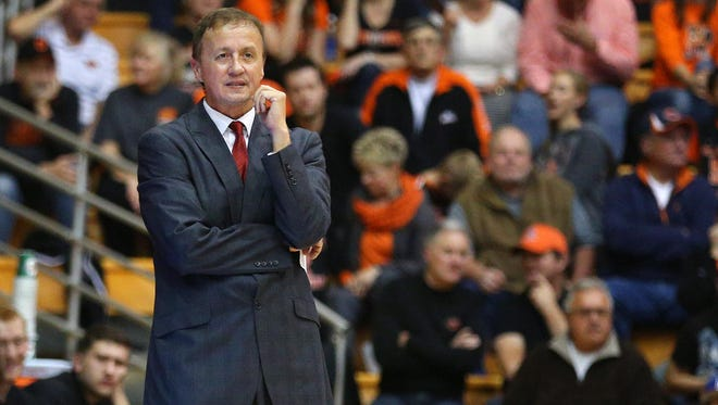 Western Oregon head coach Jim Shaw on the sideline against Oregon State inside Gill Coliseum, Thursday, November 5, 2015, at Oregon State University in Corvallis, Ore. Oregon State won the game 76-57.