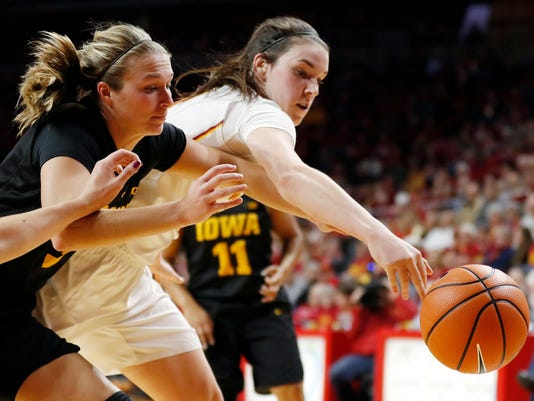 Iowa guard Makenzie Meyer, left, reaches for the ball with Iowa State guard Bridget Carleton during the first half of an NCAA college basketball game Wednesday, Dec. 6, 2017, in Ames, Iowa. (AP Photo/Charlie Neibergall)