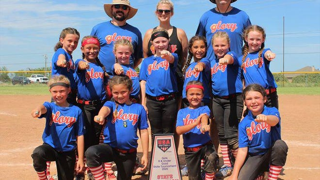 Congratulations to the undisputed 8U-Gold Bracket Pixie State Champions. The 8U Glory, a Brownwood Area Team, went undefeated over the weekend at the State Tournament in Abilene. Glory outscored opponents 79-17 and earned their fourth championship ring of the tournament season. Glory is Coached by Kelcy Sliger Potts, Justin Keas, and Landon Hill. Pictured are: top row, coaches Justin Keas, Kelcy Sliger Potts, Landon Hill;  middle row: Macy Mask, Raegan Fletcher, Sunny Groom, Audrey Keas, Emma Soto, Lyla Potts, Paisley Hill; front row,  Madison Alexander; Tatum Adams, Lynlee Richmon,  Braelee Bolton.