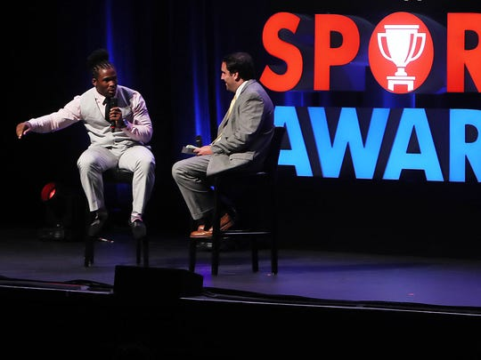 DeAngelo Williams answers questions from Commercial Appeal reporterMark Giannotto during a Q&A at the annual Commercial Appeal Sports Awards at the Orpheum Theatre.