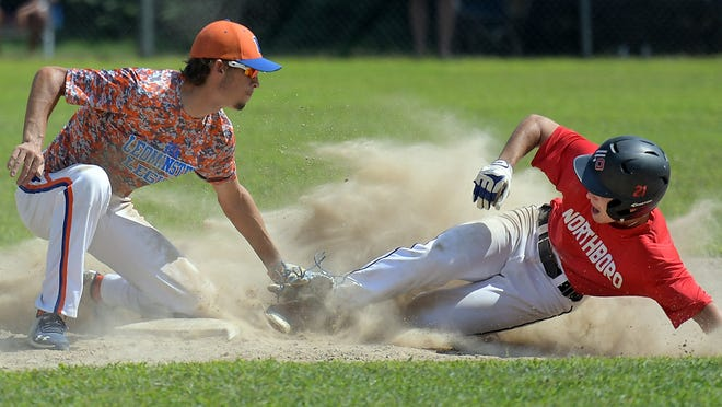 Northboro's Patrick Solomon slides into second base safely with a stolen base, as Leominster second baseman Tom Halliwell makes the tag, during the Worcester County Baseball League Championship game played at McLaughlin Park on Sunday, Aug. 9.
