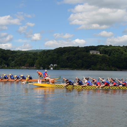Dragons Alive (left) and Motley Crew race at the 5th