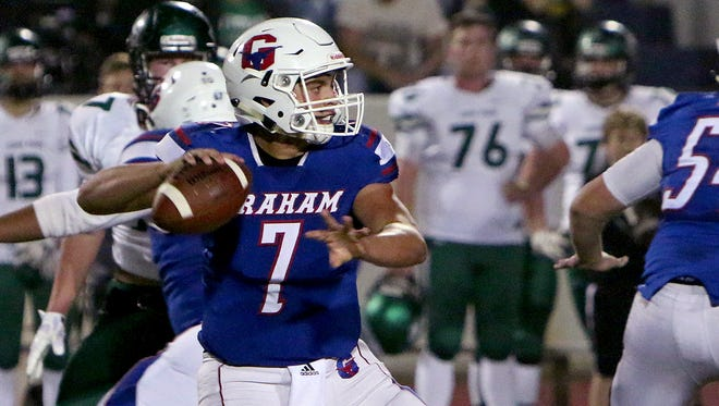 Graham quarterback Tucker Horn (7) looks downfield to throw a pass against Iowa Park Friday night at Graham.