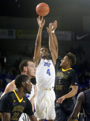 MTSU's Xavier Habersham (4) will play in his final home game on Saturday. Habersham has been MTSU's top 3-point shooter since the Feb. 4 loss at UTEP.