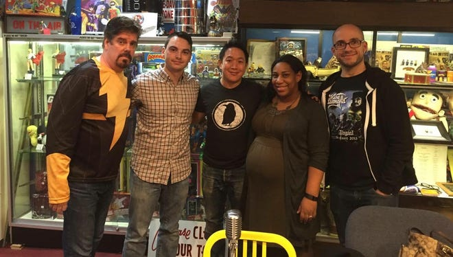 Mike Zapcic (from left), Al Mannarino, Ming Chen, Felecia Wellington Radel and Alex Biese at Jay and Silent Bob's Secret Stash in Red Bank on Feb. 4.