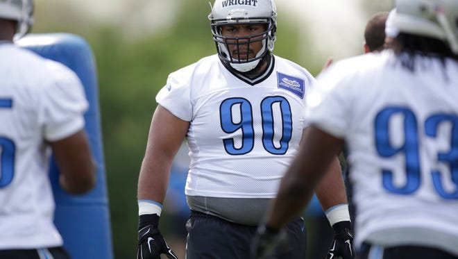 Defensive tackle Gabe Wright works out during the Detroit Lions' rookie mini-camp in Allen Park on May 8, 2015.