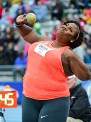 Shot putter Michelle Carter makes her second throw
