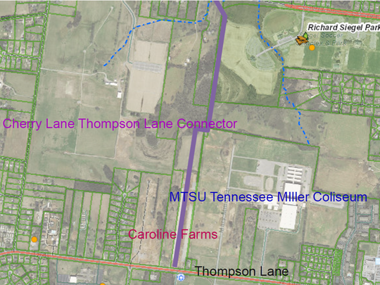 This map shows in purple a planned connector road from Thompson Lane near MTSU's Tennessee Miller Coliseum to Cherry Lane near Richard Siegel Soccer Complex and Community Park.