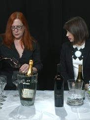 Wine expert Lisa Carley, left, and USA TODAY reporter