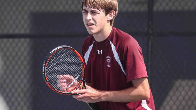 Milford's Colt Williamson, shown here during last year's state finals, won his opening match as the top seed in first singles on Friday to advance to the quarterfinals of the DIAA Boys Tennis Tournament.