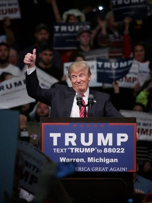 Republican presidential candidate Donald Trump speaks during a campaign rally at Macomb Community College on Friday, March 4, 2016, in Warren, MI.