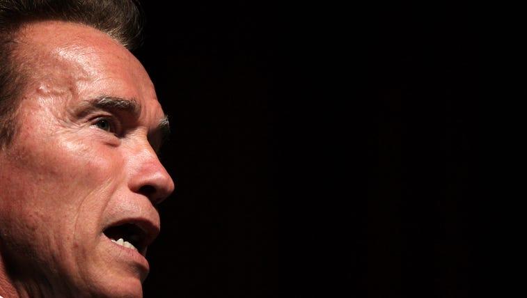 California governor Arnold Schwarzenegger talks in