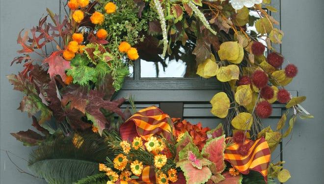 A fall wreath reflects the season.