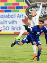 Louisville City FC defender Paco Craig gets the ball