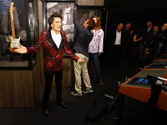 Ronnie Wood visits Nashville's Rolling Stones exhibit at the Musicians Hall of Fame on April 5, 2018.