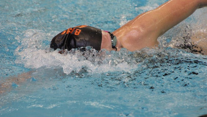 Brighton's Kellie House broke the school record in the 500 freestyle in the state Division 1 prelims at Oakland University.