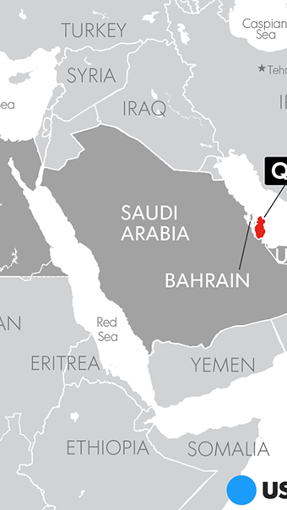map of middle east, showing location of qatar