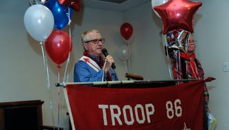 TENAFLY: Michael Cavilla, former scout master, speaking at the dinner. Tenafly Troop 86 held it's centennial alumni dinner at the Tenafly Elks Club on Saturday.
