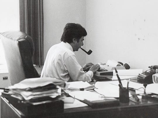 George Anthan, longtime Des Moines Register reporter, photographed from the National Press Building.