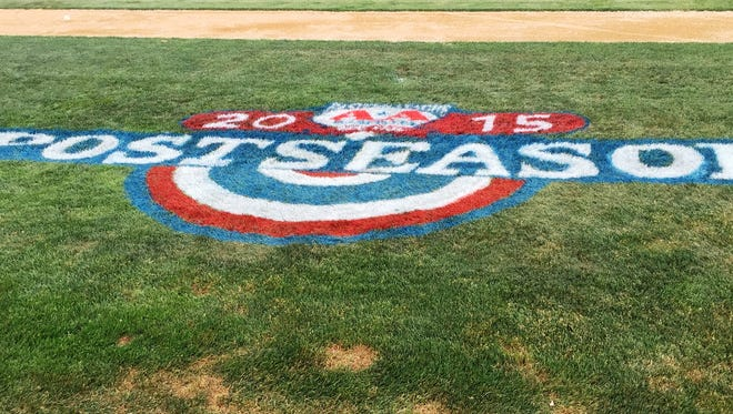 The Eastern League Posteason logo along the first base line at NYSEG Stadium.