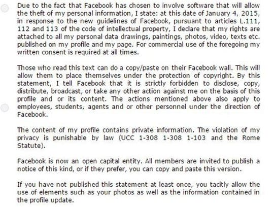 Facebook privacy hoax is making the rounds.