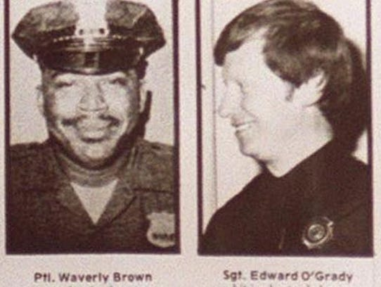 """Nyack Police Officer Waverly """"Chipper"""" Brown (l) and"""