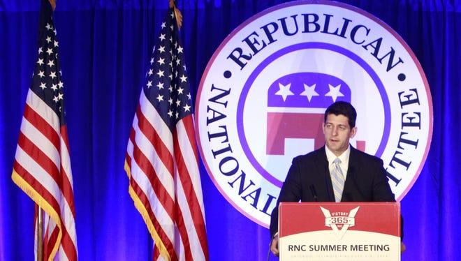 Rep. Paul Ryan, R-Janesville, speaks during the Republican National Committee summer meeting.