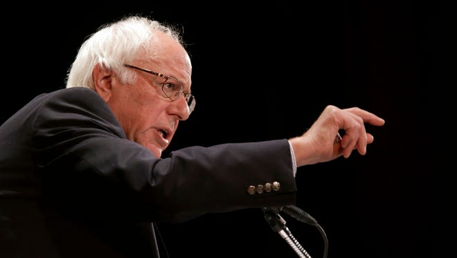 Democratic presidential candidate Sen. Bernie Sanders, I-Vt., speaks during an event at Town Hall in New York, Friday.
