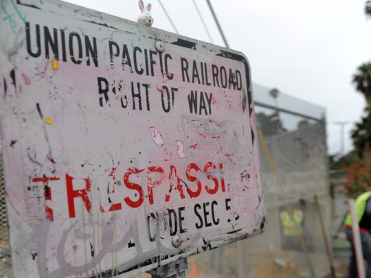 A Union Pacific Railroad sign near Vista Del Mar Drive and Seaward Avenue in Ventura warns against trespassing.
