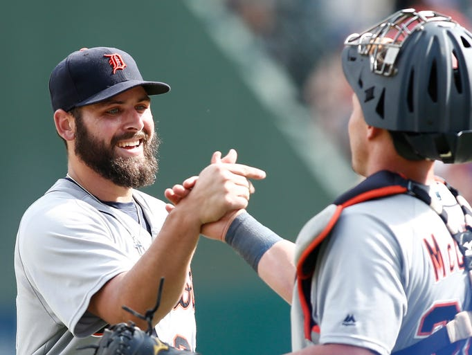 Detroit Tigers starting pitcher Michael Fulmer is congratulated